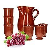 MamboCat 7tlg.-Set: Tonkrug 1.9L + 6 Tonbecher 175ml Ton-Geschirr rotbraun glasiert Servier-Kanne Trink-Tassen mediterrane Küche Wein-Fest Mittelalter-Markt